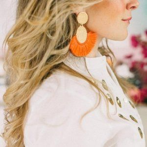 India Hicks Golden Fan Earrings - Coral - New